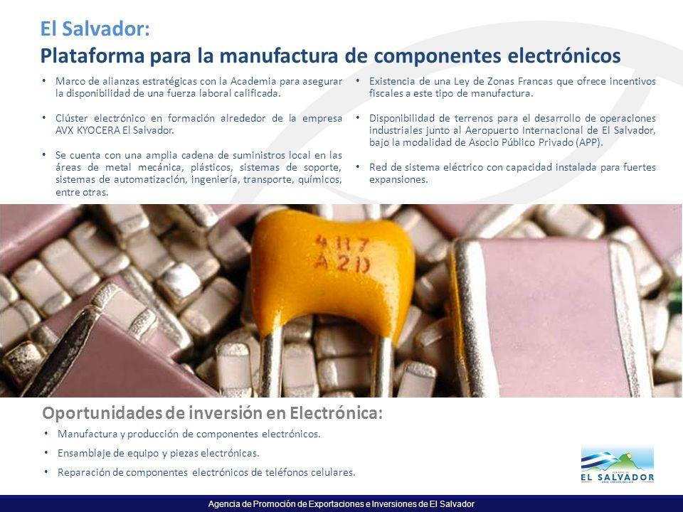 Agencia de Promoción de Exportaciones e Inversiones de El Salvador El Salvador: Plataforma para la manufactura de componentes electrónicos Marco de al
