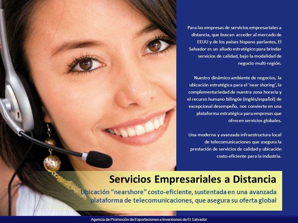 Agencia de Promoción de Exportaciones e Inversiones de El Salvador Para las empresas de servicios empresariales a distancia, que buscan acceder al mer