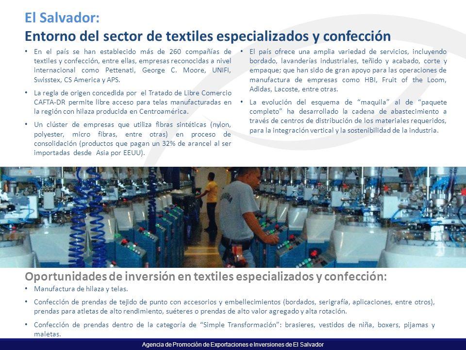 Agencia de Promoción de Exportaciones e Inversiones de El Salvador El Salvador: Entorno del sector de textiles especializados y confección En el país