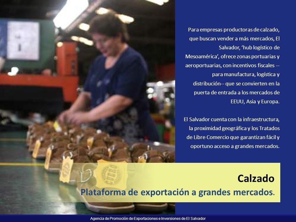 Agencia de Promoción de Exportaciones e Inversiones de El Salvador 38 Logistics Easy and timely access to large markets. Calzado Plataforma de exporta