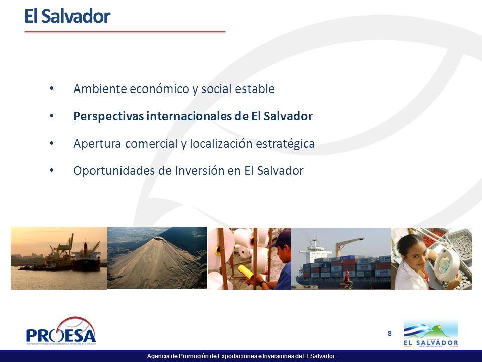 Agencia de Promoción de Exportaciones e Inversiones de El Salvador 8 El Salvador Ambiente económico y social estable Perspectivas internacionales de E