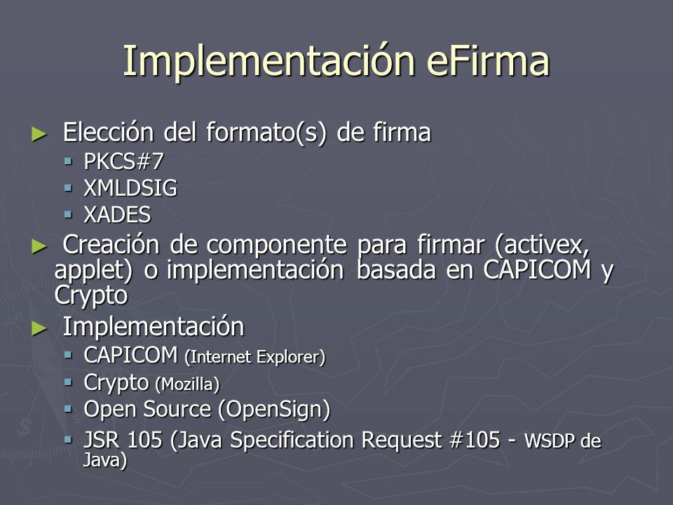 Implementación eFirma Elección del formato(s) de firma Elección del formato(s) de firma PKCS#7 PKCS#7 XMLDSIG XMLDSIG XADES XADES Creación de componen