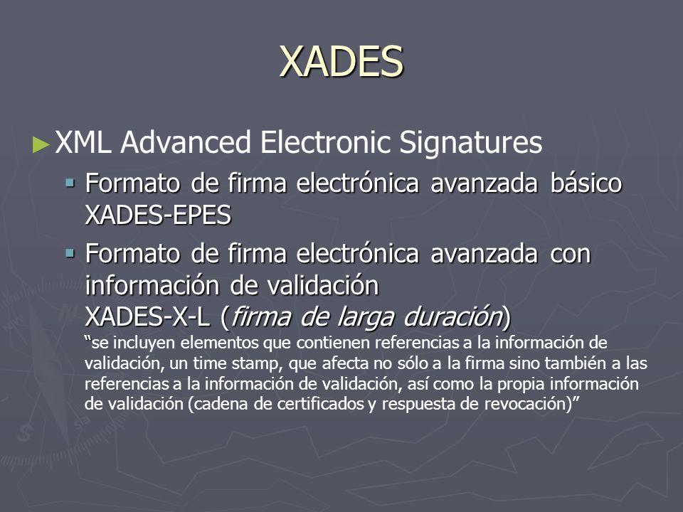 XADES XML Advanced Electronic Signatures Formato de firma electrónica avanzada básico XADES-EPES Formato de firma electrónica avanzada básico XADES-EP
