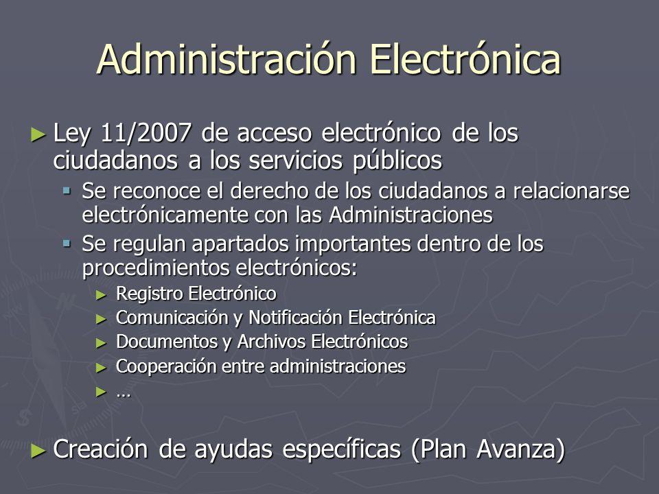 Administración Electrónica Ley 11/2007 de acceso electrónico de los ciudadanos a los servicios públicos Ley 11/2007 de acceso electrónico de los ciuda