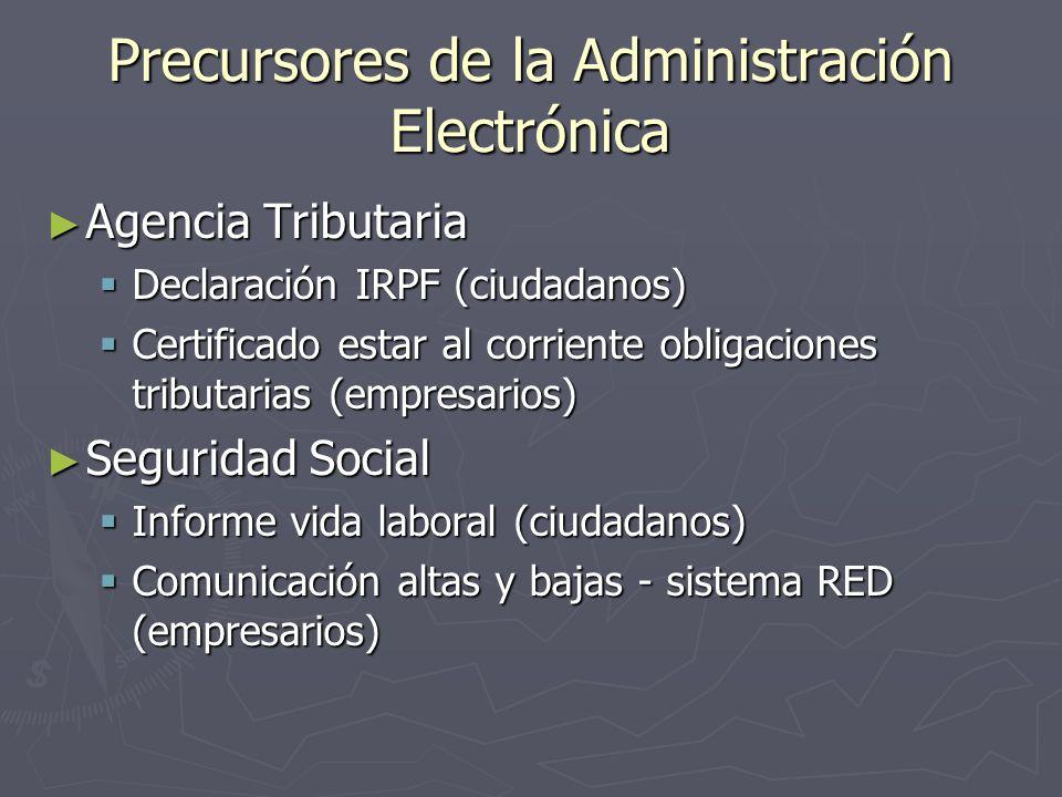 Precursores de la Administración Electrónica Agencia Tributaria Agencia Tributaria Declaración IRPF (ciudadanos) Declaración IRPF (ciudadanos) Certifi
