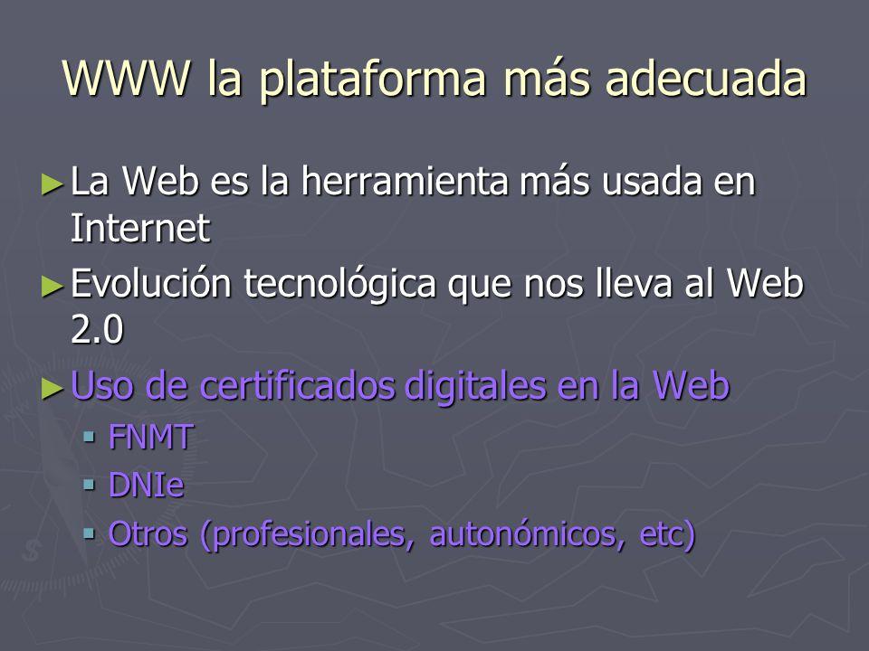 WWW la plataforma más adecuada La Web es la herramienta más usada en Internet La Web es la herramienta más usada en Internet Evolución tecnológica que