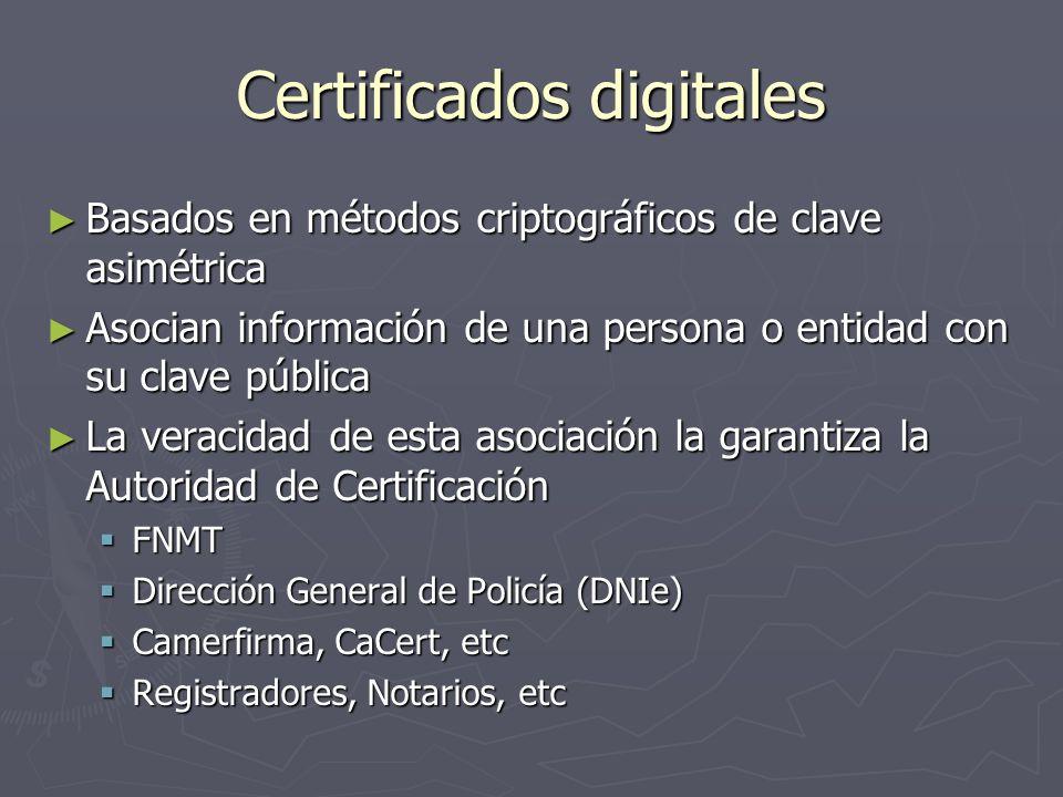 Certificados digitales Basados en métodos criptográficos de clave asimétrica Basados en métodos criptográficos de clave asimétrica Asocian información