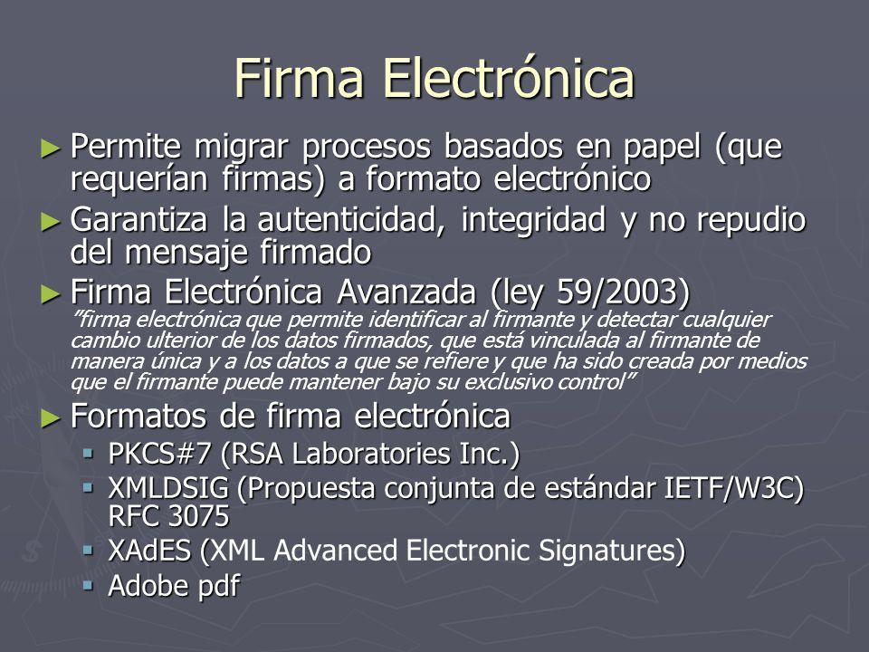 Firma Electrónica Permite migrar procesos basados en papel (que requerían firmas) a formato electrónico Permite migrar procesos basados en papel (que