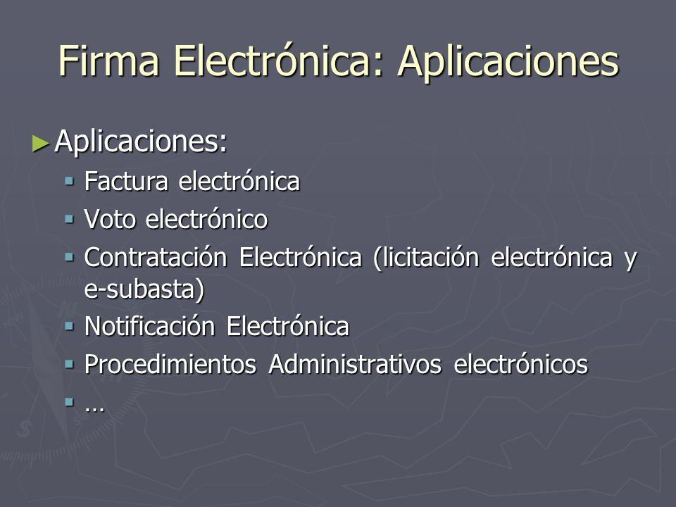 Firma Electrónica: Aplicaciones Aplicaciones: Aplicaciones: Factura electrónica Factura electrónica Voto electrónico Voto electrónico Contratación Ele