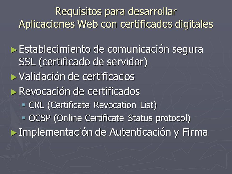 Requisitos para desarrollar Aplicaciones Web con certificados digitales Establecimiento de comunicación segura SSL (certificado de servidor) Estableci