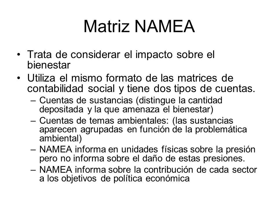 Matriz NAMEA Trata de considerar el impacto sobre el bienestar Utiliza el mismo formato de las matrices de contabilidad social y tiene dos tipos de cu