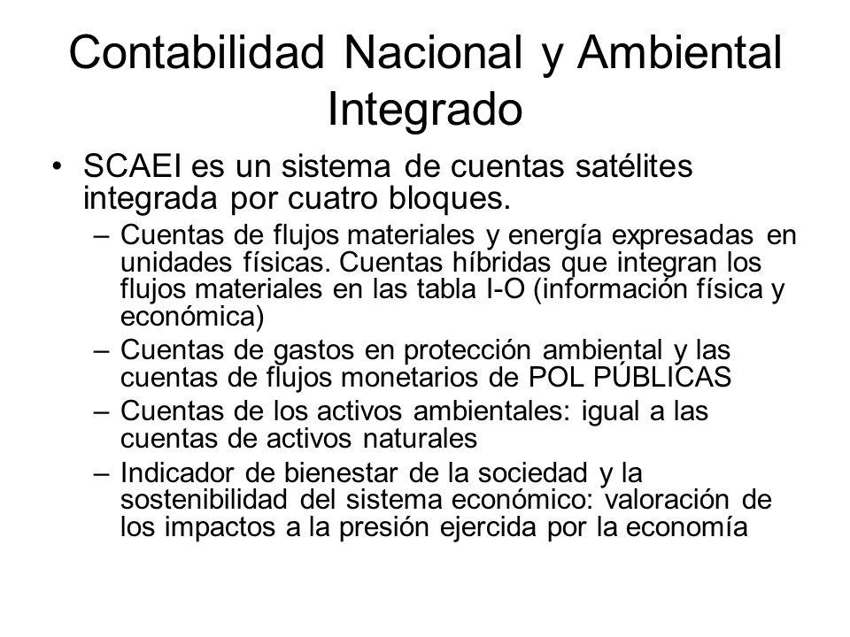 Contabilidad Nacional y Ambiental Integrado SCAEI es un sistema de cuentas satélites integrada por cuatro bloques. –Cuentas de flujos materiales y ene