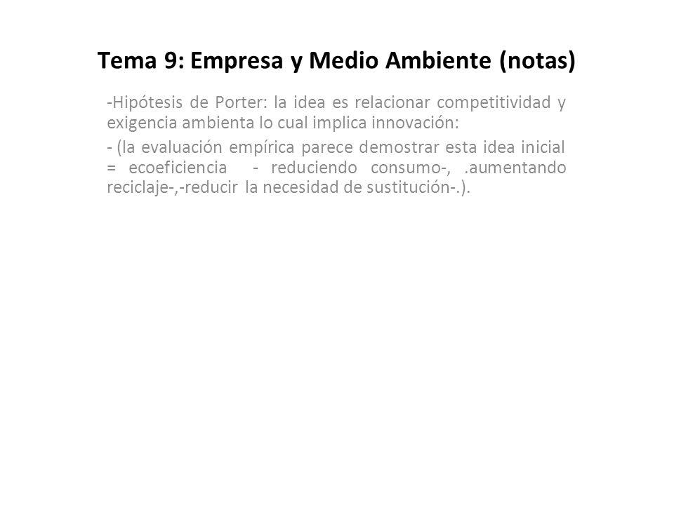 Tema 9: Empresa y Medio Ambiente (notas) -Hipótesis de Porter: la idea es relacionar competitividad y exigencia ambienta lo cual implica innovación: -