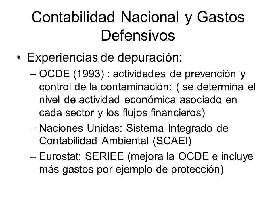 Contabilidad Nacional y Gastos Defensivos Experiencias de depuración: –OCDE (1993) : actividades de prevención y control de la contaminación: ( se det