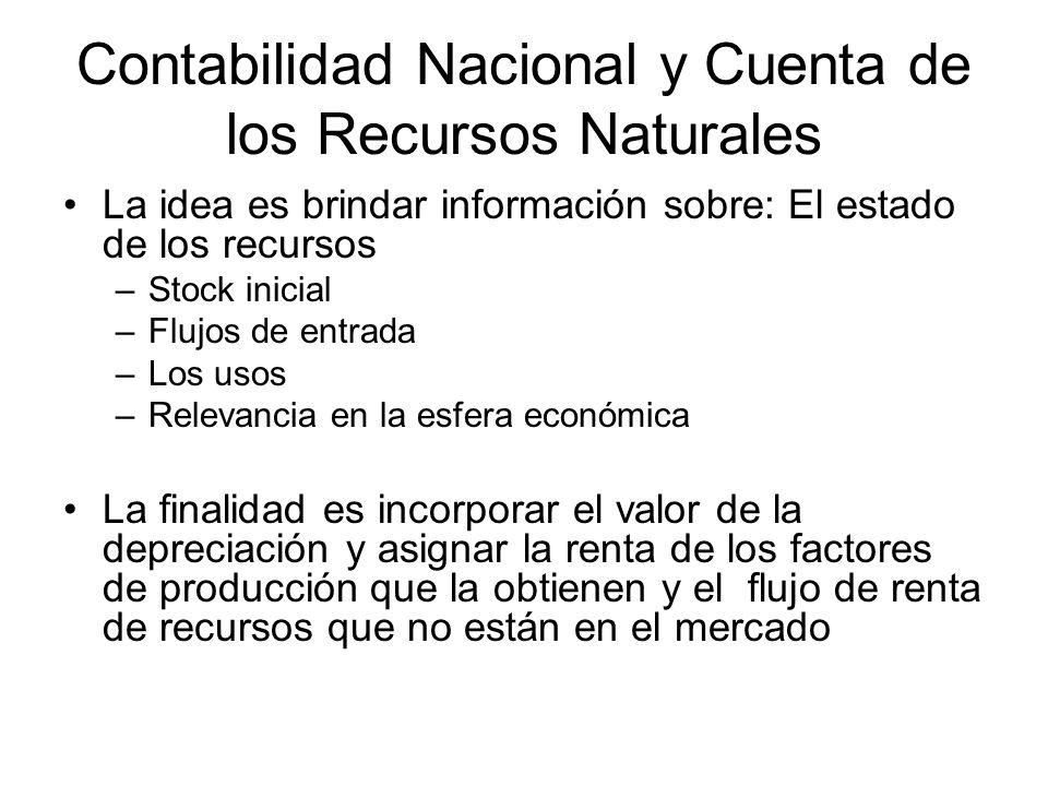 Contabilidad Nacional y Cuenta de los Recursos Naturales La idea es brindar información sobre: El estado de los recursos –Stock inicial –Flujos de ent