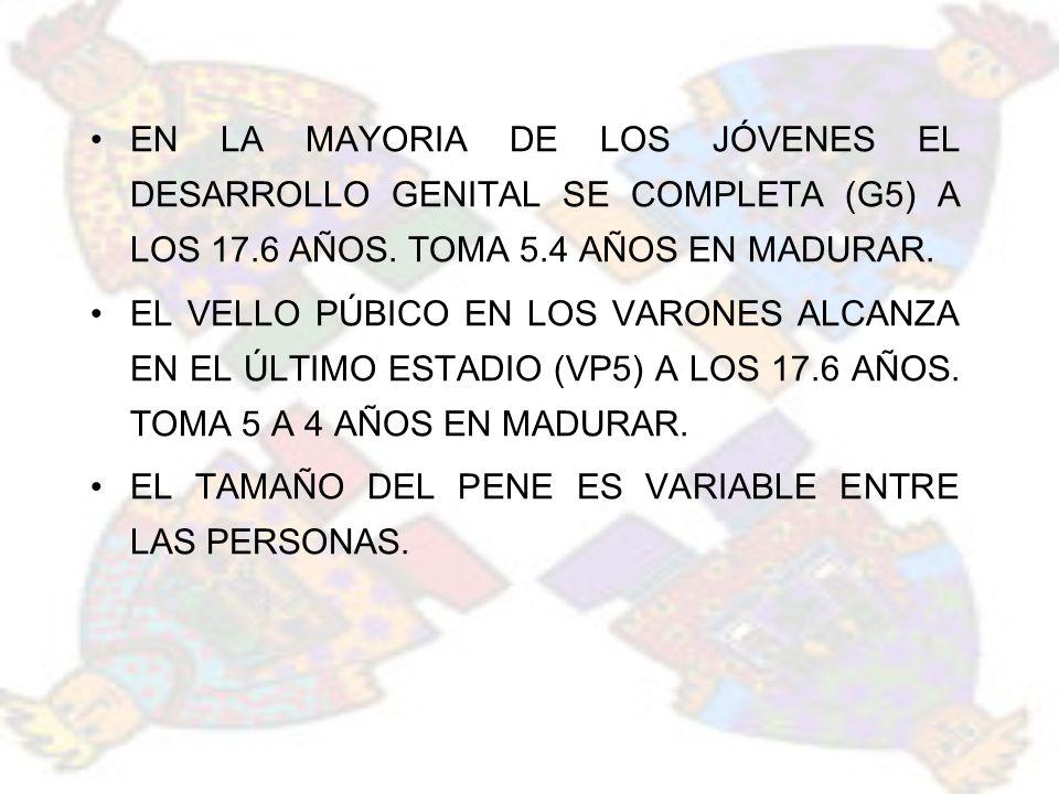 EN LA MAYORIA DE LOS JÓVENES EL DESARROLLO GENITAL SE COMPLETA (G5) A LOS 17.6 AÑOS. TOMA 5.4 AÑOS EN MADURAR. EL VELLO PÚBICO EN LOS VARONES ALCANZA