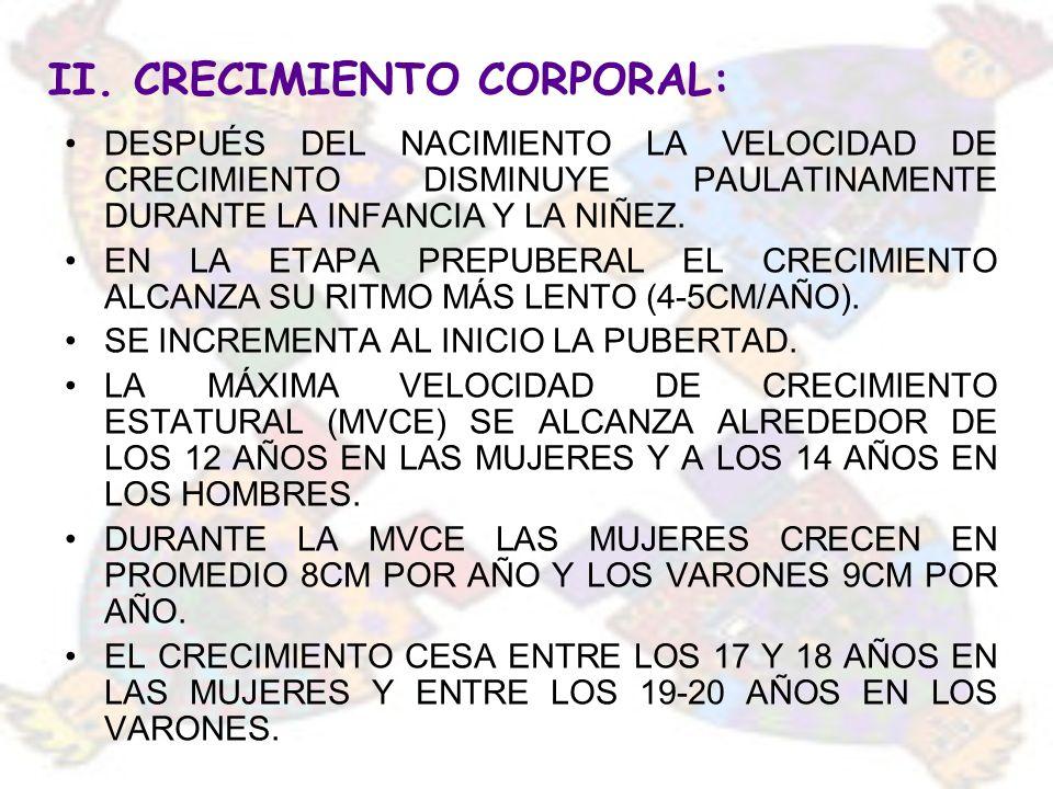 II. CRECIMIENTO CORPORAL: DESPUÉS DEL NACIMIENTO LA VELOCIDAD DE CRECIMIENTO DISMINUYE PAULATINAMENTE DURANTE LA INFANCIA Y LA NIÑEZ. EN LA ETAPA PREP