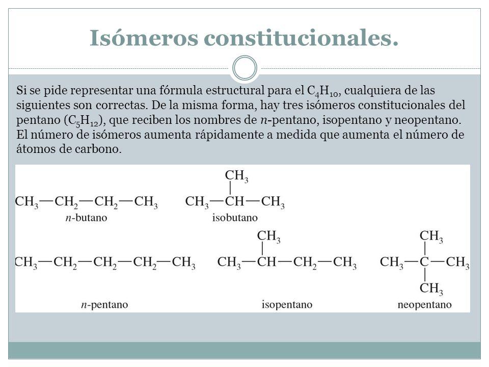 Isómeros constitucionales. Si se pide representar una fórmula estructural para el C 4 H 10, cualquiera de las siguientes son correctas. De la misma fo