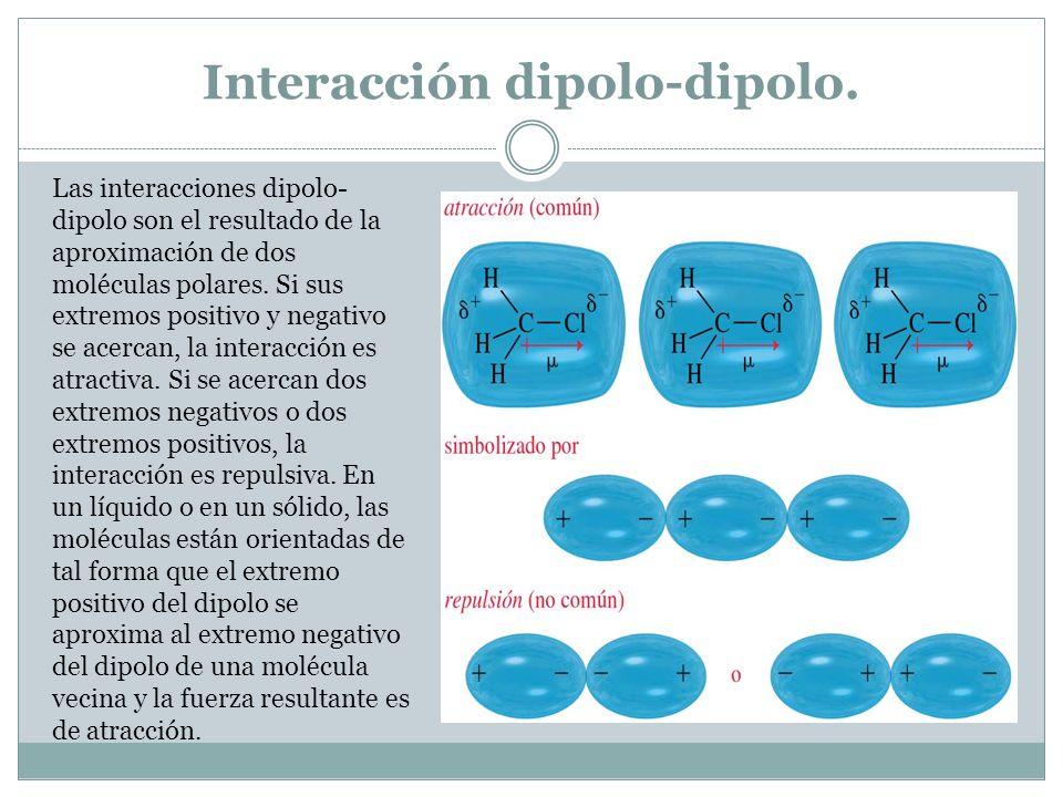 Interacción dipolo-dipolo. Las interacciones dipolo- dipolo son el resultado de la aproximación de dos moléculas polares. Si sus extremos positivo y n