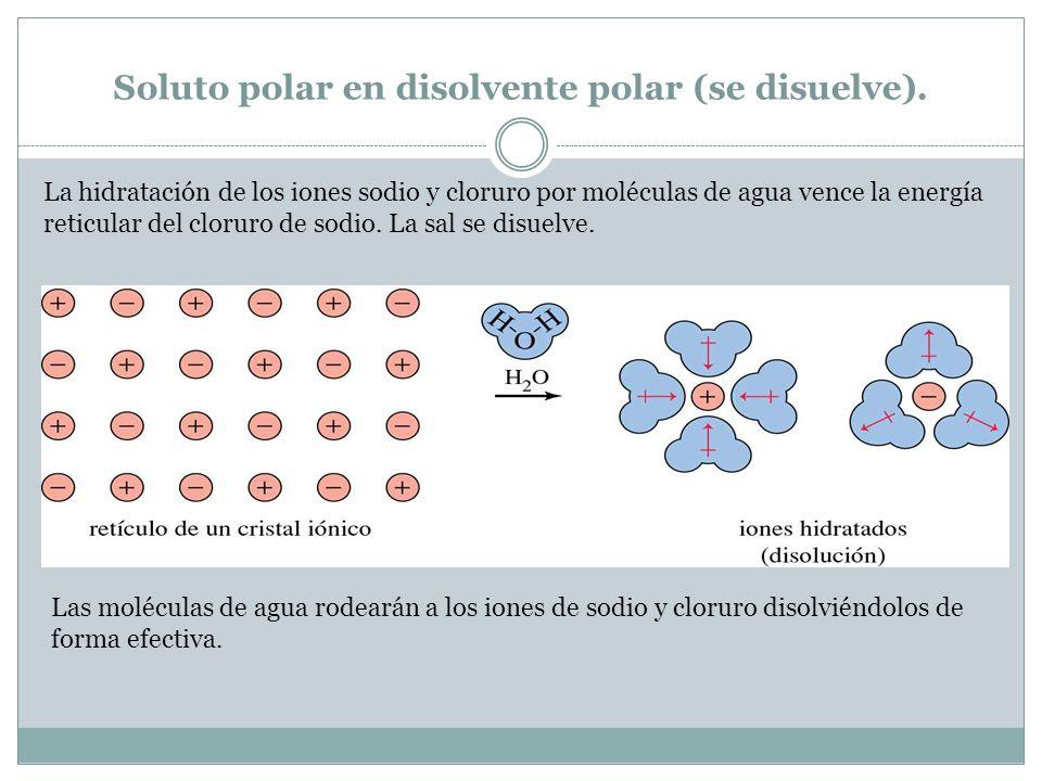 Soluto polar en disolvente polar (se disuelve). La hidratación de los iones sodio y cloruro por moléculas de agua vence la energía reticular del cloru