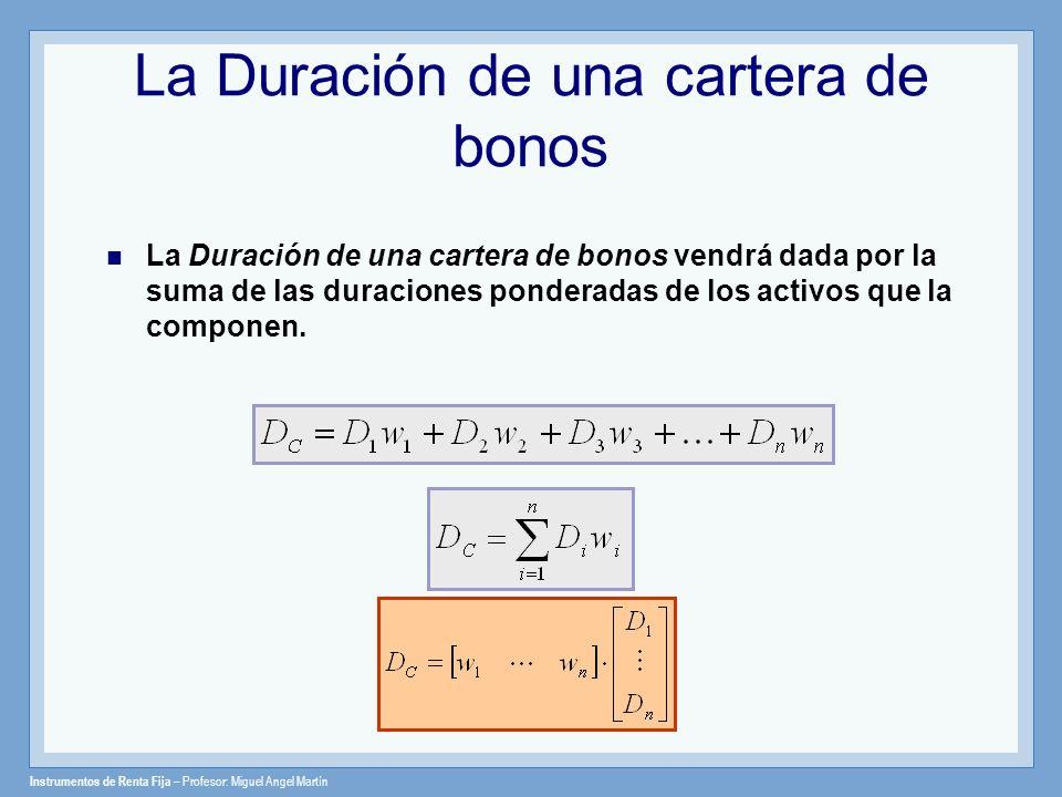 Instrumentos de Renta Fija – Profesor: Miguel Angel Martín La Duración de una cartera de bonos La Duración de una cartera de bonos vendrá dada por la