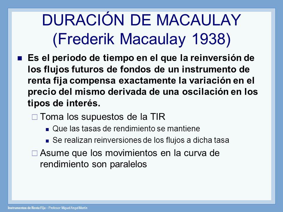 Instrumentos de Renta Fija – Profesor: Miguel Angel Martín DURACIÓN DE MACAULAY (Frederik Macaulay 1938) Es el periodo de tiempo en el que la reinvers
