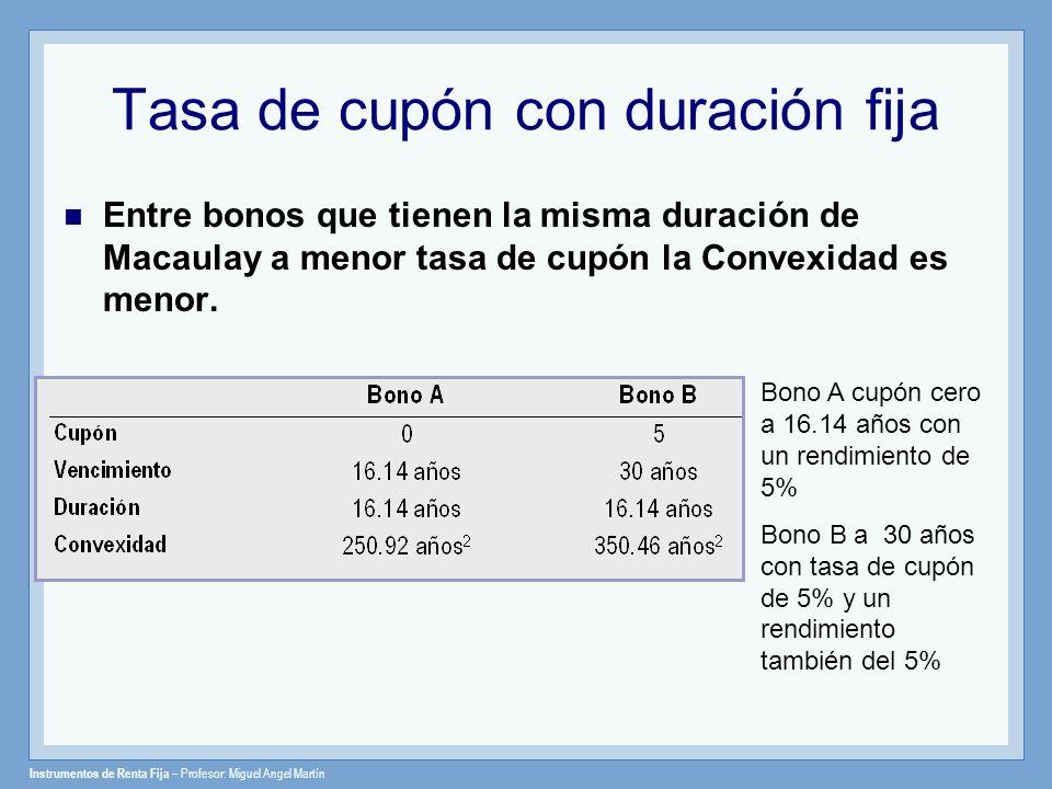 Instrumentos de Renta Fija – Profesor: Miguel Angel Martín Tasa de cupón con duración fija Entre bonos que tienen la misma duración de Macaulay a meno