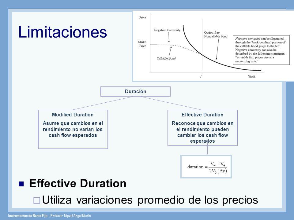 Instrumentos de Renta Fija – Profesor: Miguel Angel Martín Limitaciones Effective Duration Utiliza variaciones promedio de los precios Duración Modifi