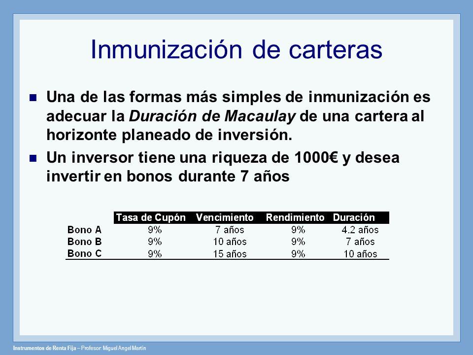 Instrumentos de Renta Fija – Profesor: Miguel Angel Martín Inmunización de carteras Una de las formas más simples de inmunización es adecuar la Duraci