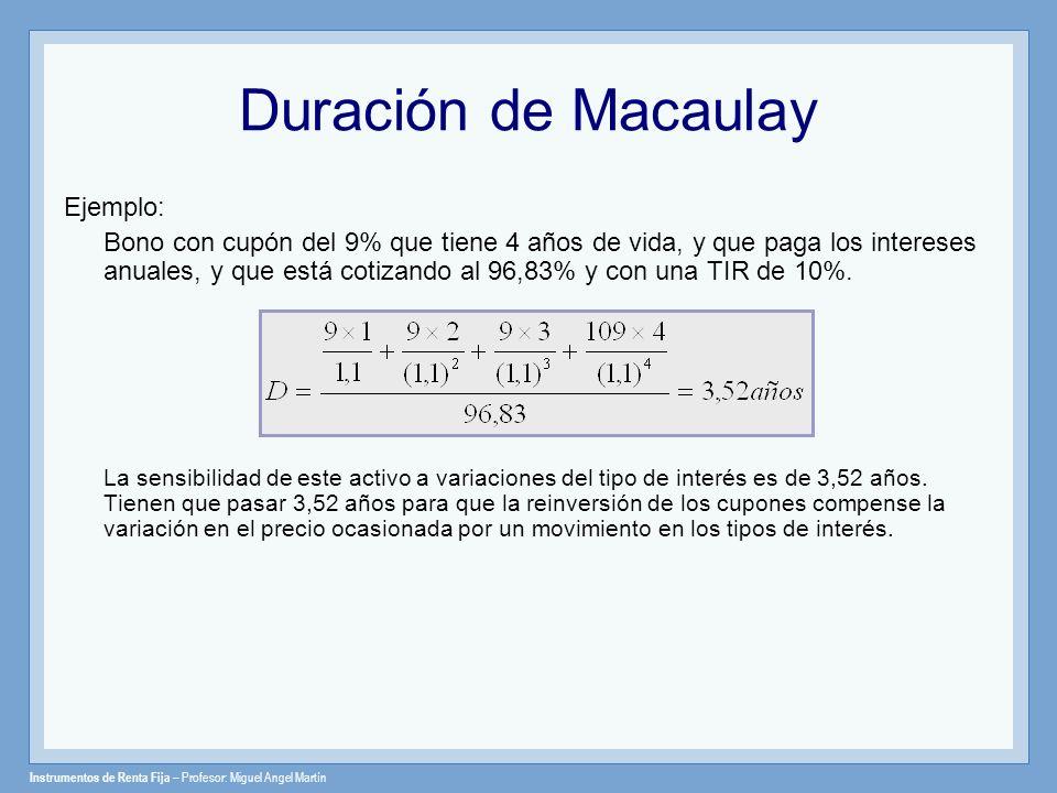 Instrumentos de Renta Fija – Profesor: Miguel Angel Martín Duración de Macaulay Ejemplo: Bono con cupón del 9% que tiene 4 años de vida, y que paga lo