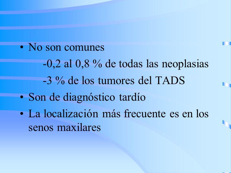 No son comunes -0,2 al 0,8 % de todas las neoplasias -3 % de los tumores del TADS Son de diagnóstico tardío La localización más frecuente es en los se