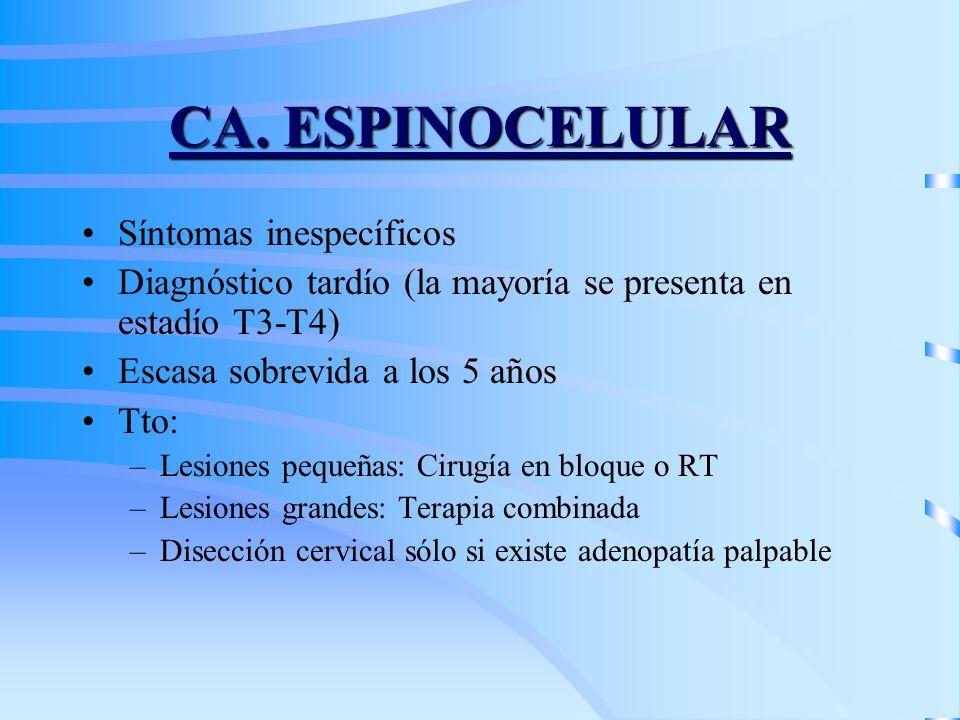 CA. ESPINOCELULAR Síntomas inespecíficos Diagnóstico tardío (la mayoría se presenta en estadío T3-T4) Escasa sobrevida a los 5 años Tto: –Lesiones peq
