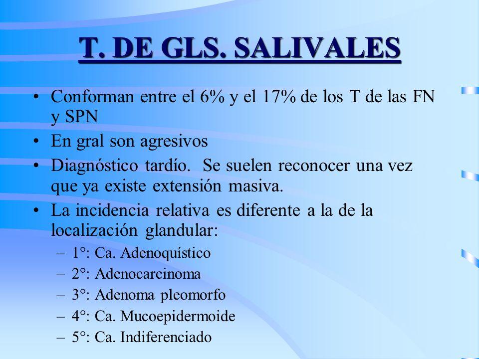 T. DE GLS. SALIVALES Conforman entre el 6% y el 17% de los T de las FN y SPN En gral son agresivos Diagnóstico tardío. Se suelen reconocer una vez que