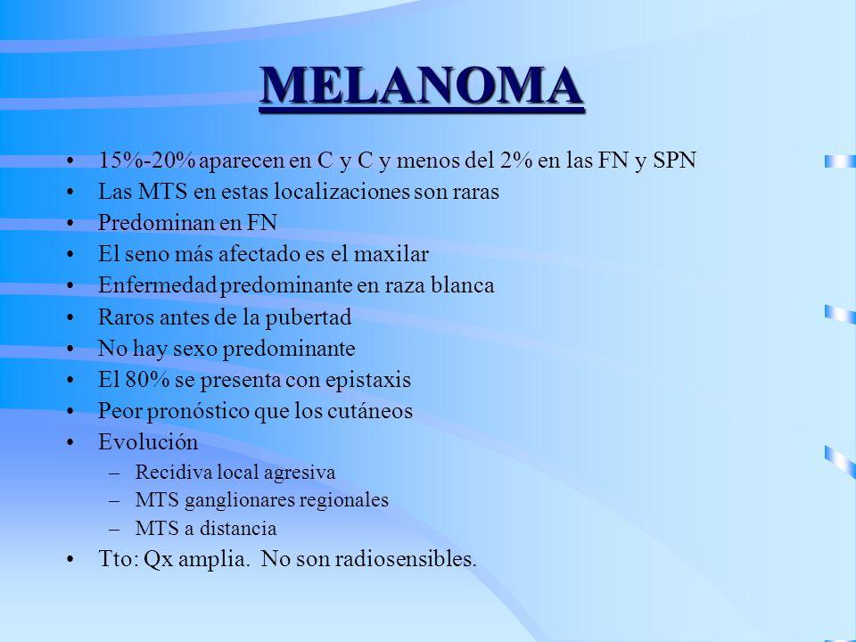 MELANOMA 15%-20% aparecen en C y C y menos del 2% en las FN y SPN Las MTS en estas localizaciones son raras Predominan en FN El seno más afectado es e