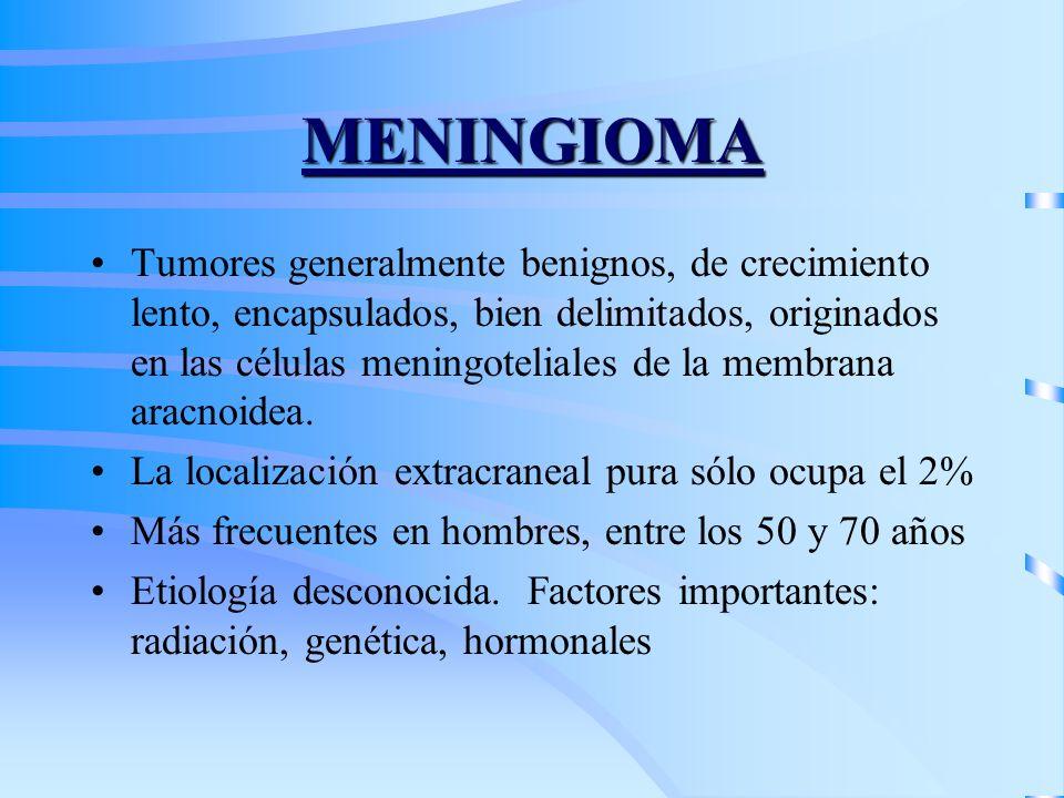 MENINGIOMA Tumores generalmente benignos, de crecimiento lento, encapsulados, bien delimitados, originados en las células meningoteliales de la membra