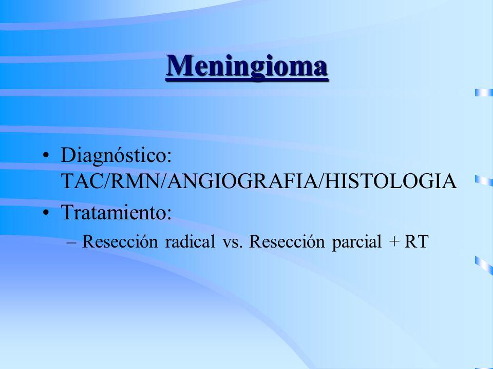 Meningioma Diagnóstico: TAC/RMN/ANGIOGRAFIA/HISTOLOGIA Tratamiento: –Resección radical vs. Resección parcial + RT