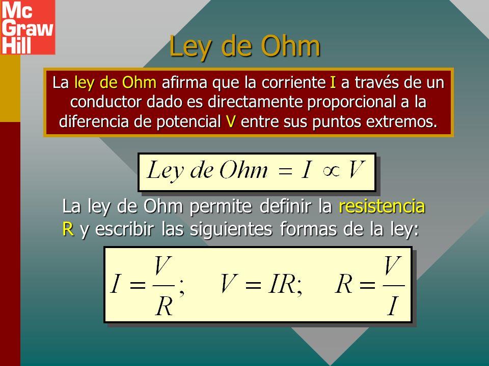 Resistencia eléctrica Suponga que se aplica una diferencia de potencial constante de 4 V a los extremos de barras geométricamente similares de, por de