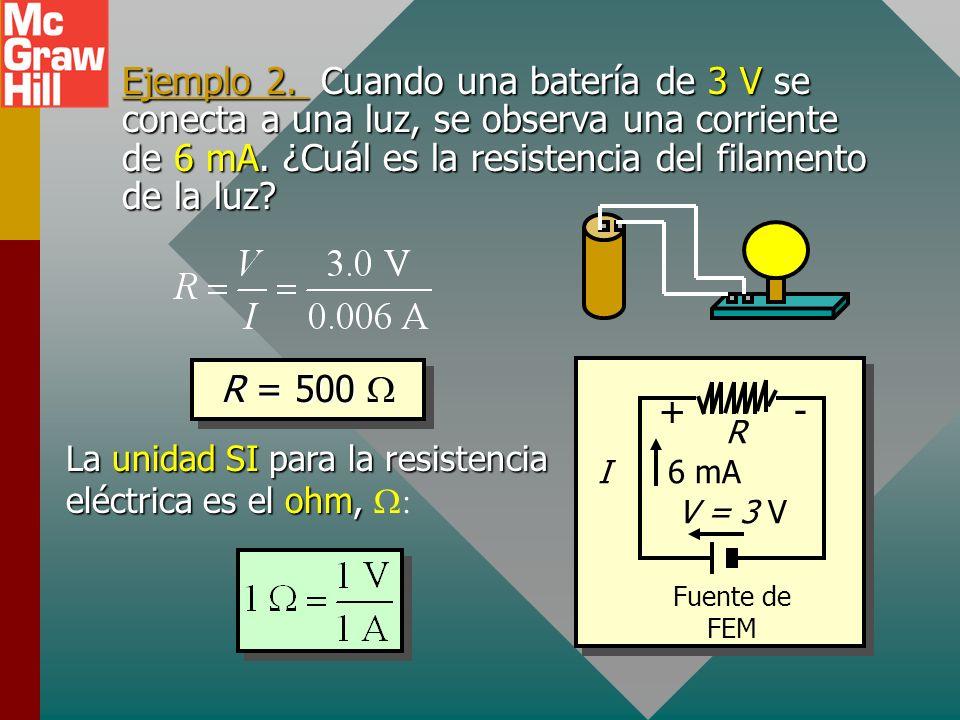 Ley de Ohm La ley de Ohm afirma que la corriente I a través de un conductor dado es directamente proporcional a la diferencia de potencial V entre sus