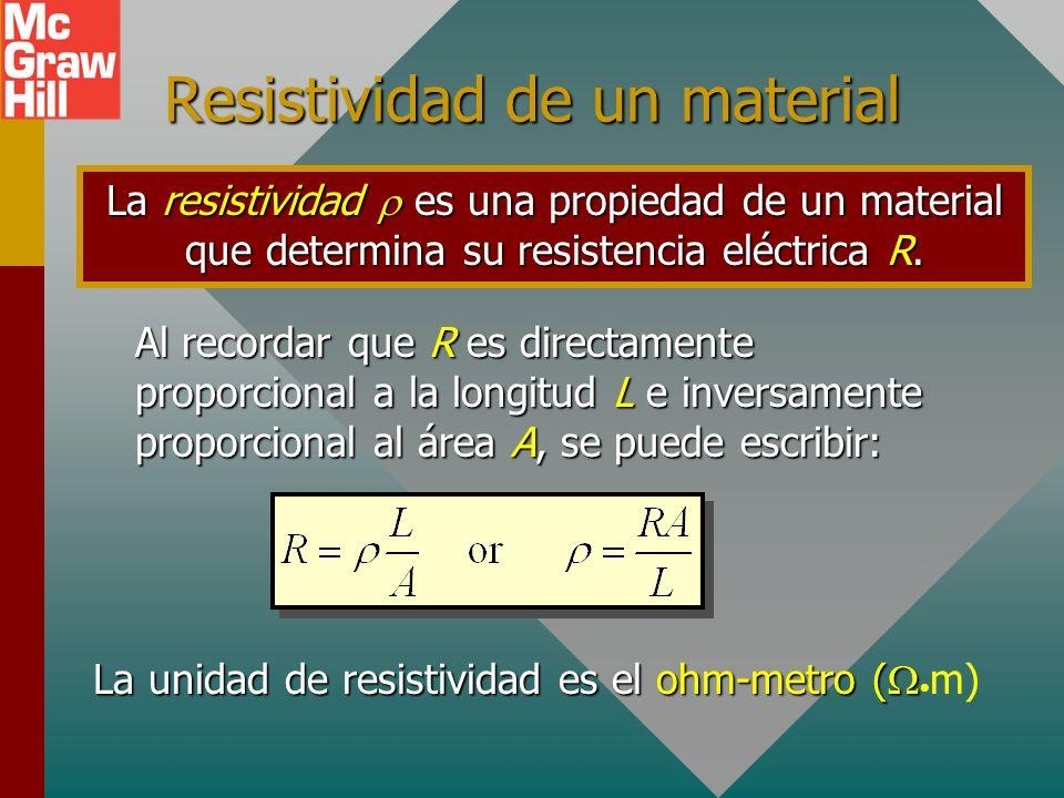 Factores que afectan R (Cont.) 3. La temperatura T del material. Las temperaturas más altas resultan en resistencias más altas. 4. El tipo del materia