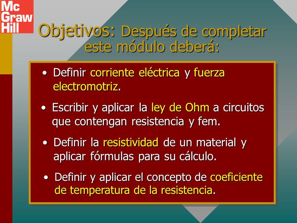 Objetivos: Después de completar este módulo deberá: Definir corriente eléctrica y fuerza electromotriz.Definir corriente eléctrica y fuerza electromotriz.