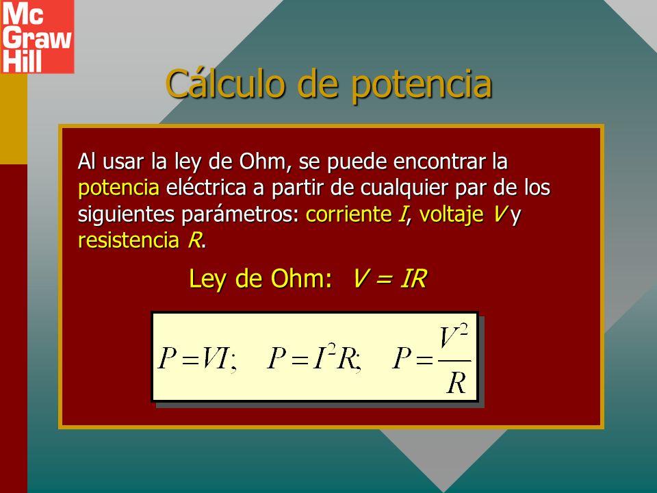 Potencia eléctrica La potencia eléctrica P es la tasa a la que se gasta la energía eléctrica, o trabajo por unidad de tiempo. Vq V Para cargar C: Trab