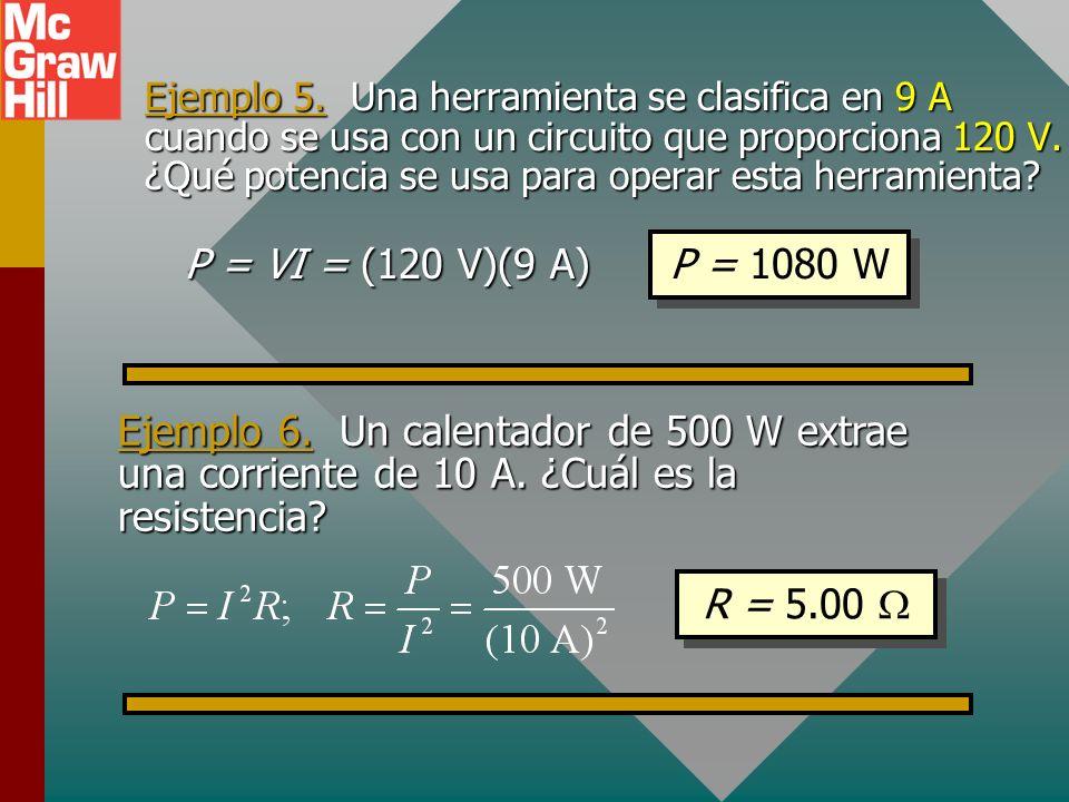 Cálculo de potencia Al usar la ley de Ohm, se puede encontrar la potencia eléctrica a partir de cualquier par de los siguientes parámetros: corriente