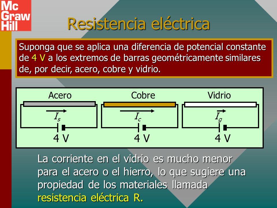 Resistencia eléctrica Suponga que se aplica una diferencia de potencial constante de 4 V a los extremos de barras geométricamente similares de, por decir, acero, cobre y vidrio.