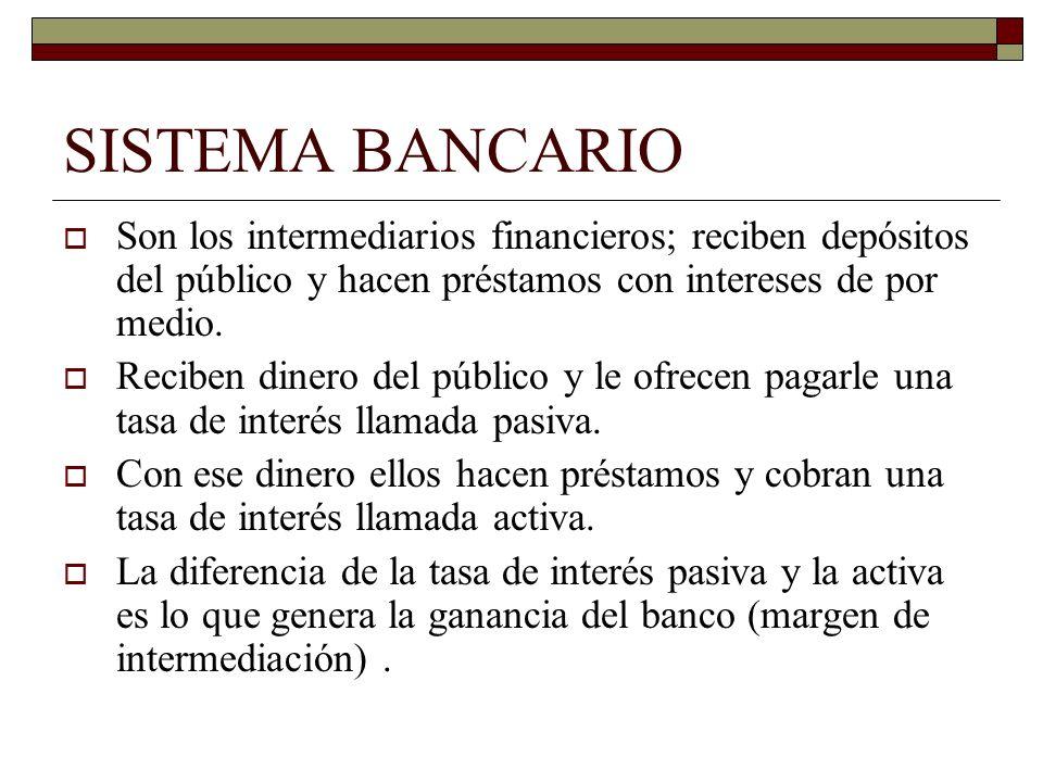 SISTEMA BANCARIO Son los intermediarios financieros; reciben depósitos del público y hacen préstamos con intereses de por medio. Reciben dinero del pú