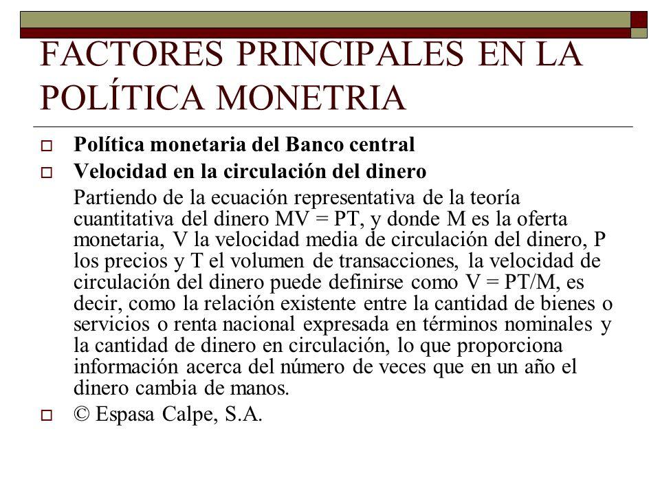 FACTORES PRINCIPALES EN LA POLÍTICA MONETRIA Política monetaria del Banco central Velocidad en la circulación del dinero Partiendo de la ecuación repr