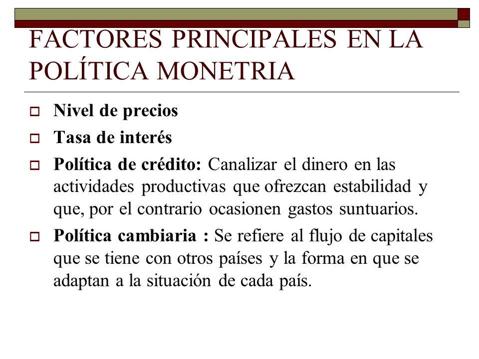 FACTORES PRINCIPALES EN LA POLÍTICA MONETRIA Nivel de precios Tasa de interés Política de crédito: Canalizar el dinero en las actividades productivas