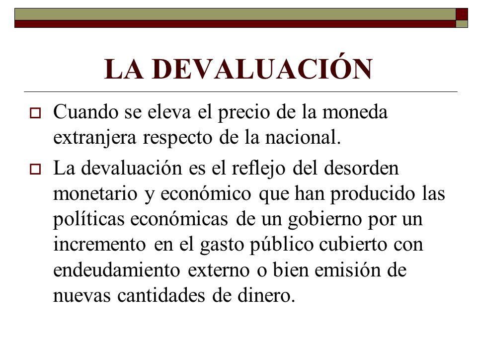 LA DEVALUACIÓN Cuando se eleva el precio de la moneda extranjera respecto de la nacional. La devaluación es el reflejo del desorden monetario y económ