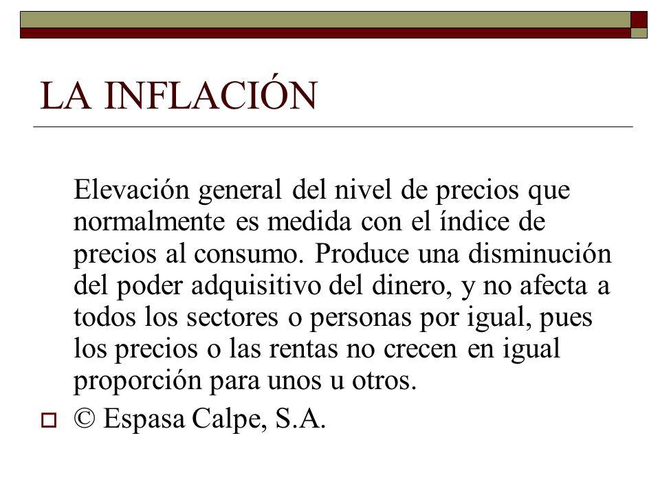 LA INFLACIÓN Elevación general del nivel de precios que normalmente es medida con el índice de precios al consumo. Produce una disminución del poder a