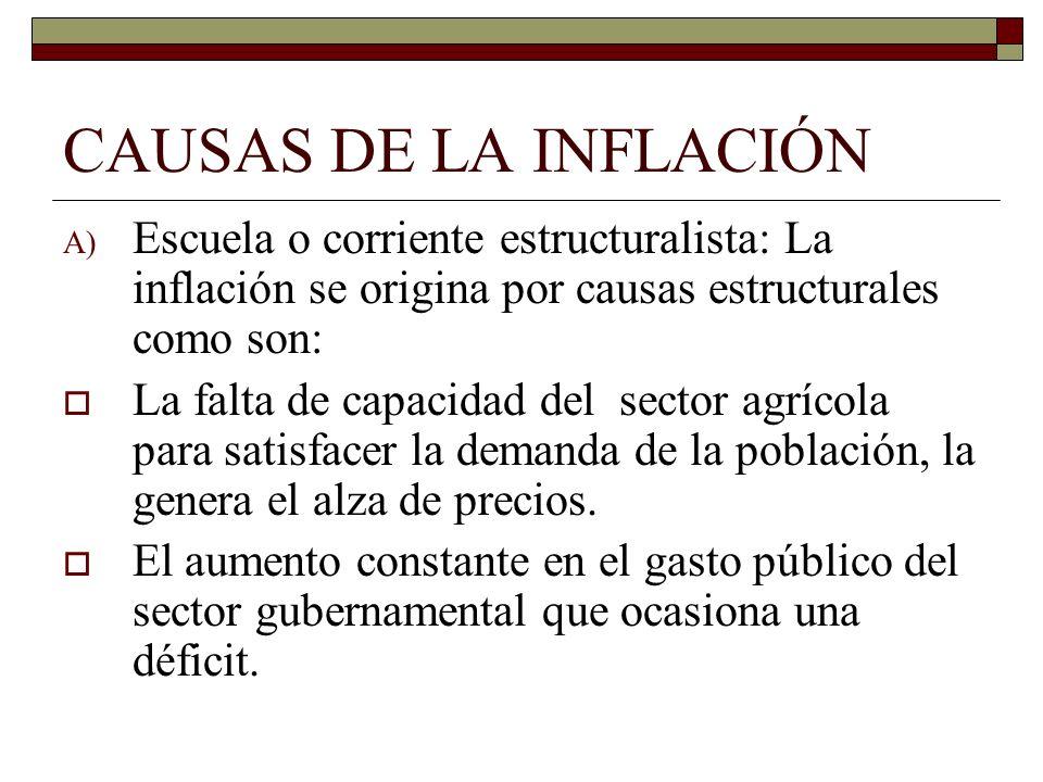 CAUSAS DE LA INFLACIÓN A) Escuela o corriente estructuralista: La inflación se origina por causas estructurales como son: La falta de capacidad del se