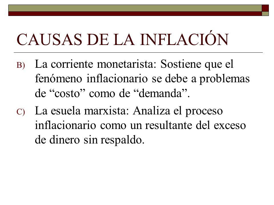 CAUSAS DE LA INFLACIÓN B) La corriente monetarista: Sostiene que el fenómeno inflacionario se debe a problemas de costo como de demanda. C) La esuela